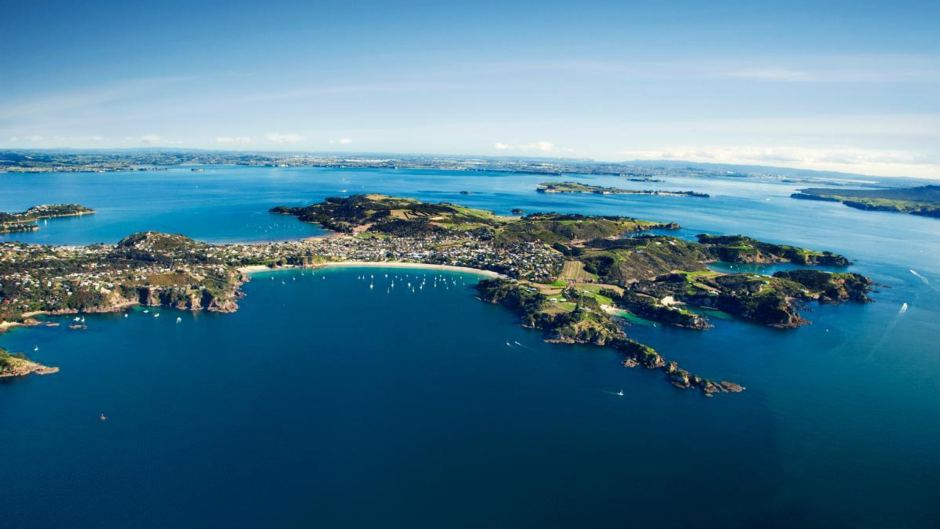 The beautiful Waiheke Island looking back towards the city.